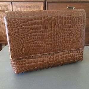 "Vintage brown ""crocodile"" purse/clutch"
